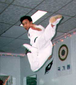 Grand Master Chang H. Choi Demonstrating Flying Side Kick